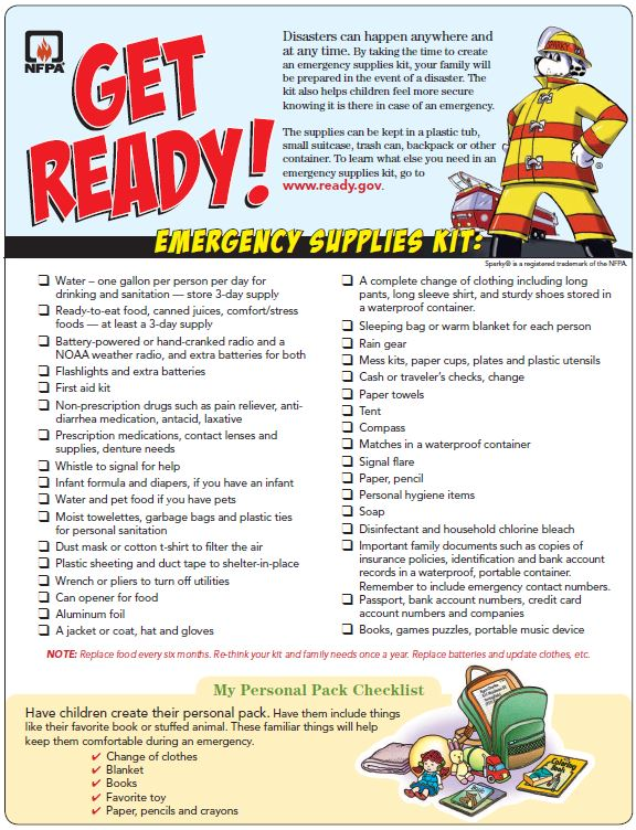 A checklist for an emergency supply kit